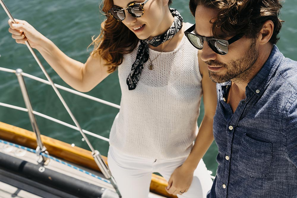 Stylish Couple On Their Boat